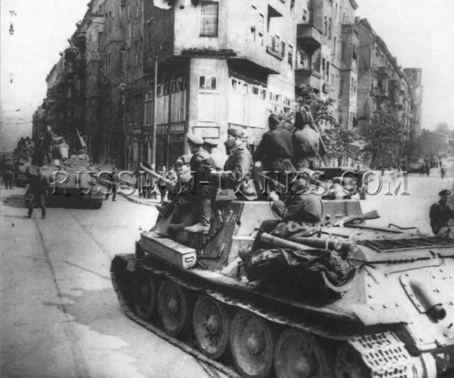 The T-34: On the brink of victory in May 1945, a column of SU-100s enter the central districts of Berlin