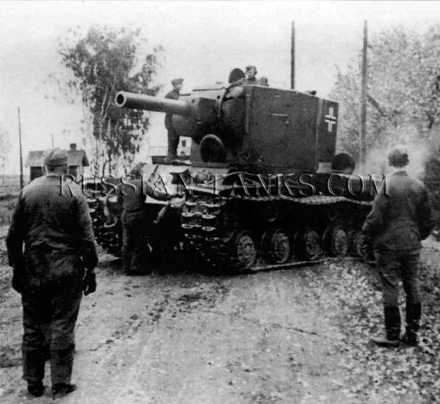 Heavy Tanks: German technical intelligence staff watch sa a captured KV-2A manoeuvres in the hands of its new crew