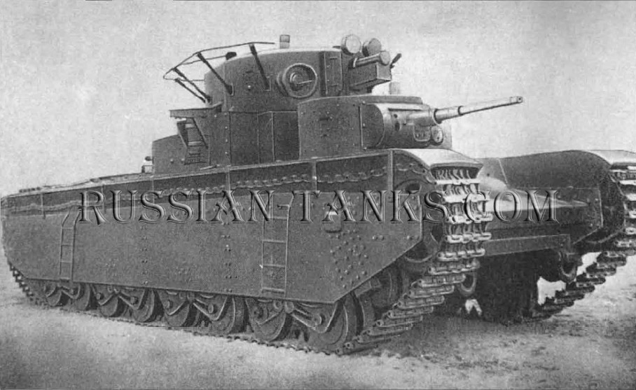 Heavy Tanks: T-35 Model 1938 fitted with a radio antenna