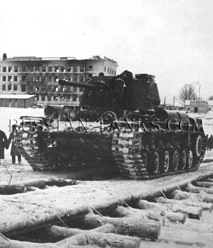Heavy Tanks: A KV-1 crosses a timber bridge over a frozen river: the ice could take the tank's weight as long as the timber tresses distributed it evently