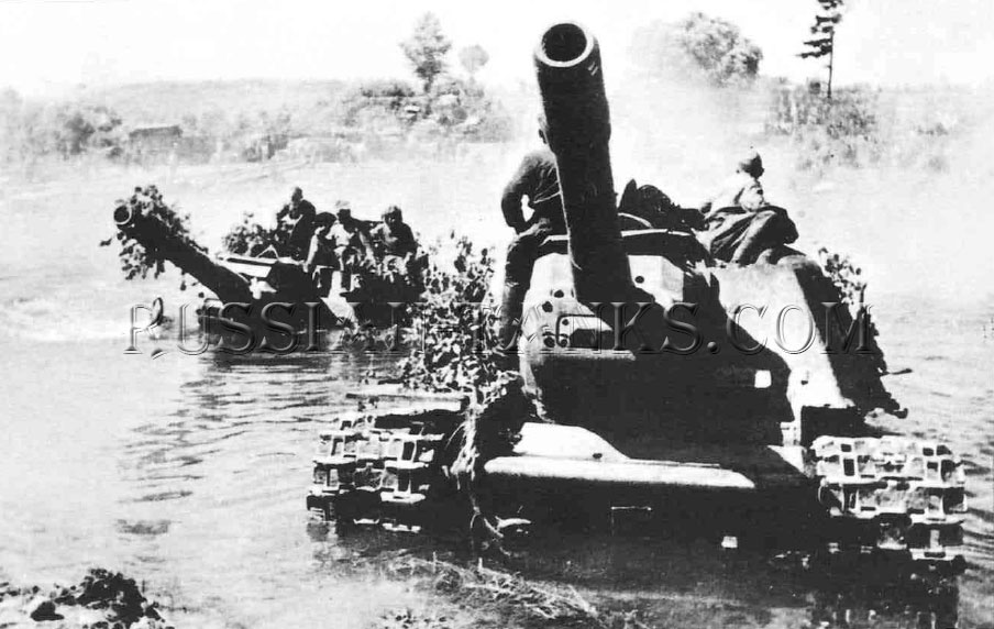 the Red Army: Two ISU-152s ford a river self-propelled gun