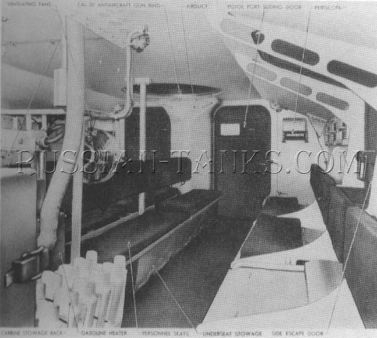 The interior of the M44 (T16) troop compartment