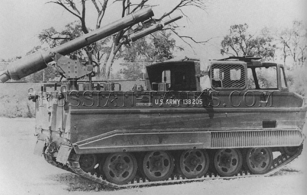 The Davy Crockett nuclear weapon system is mounted on the M116 carrier