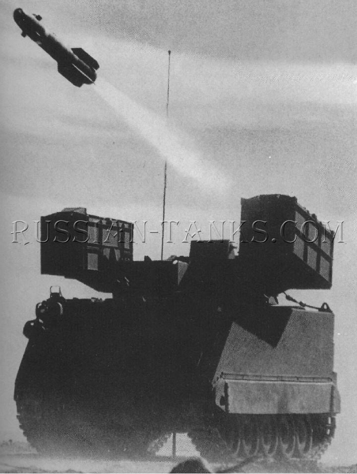 The Hellfire missile is being launched from one of the two, 4 tube, launchers on the M113 series carrier
