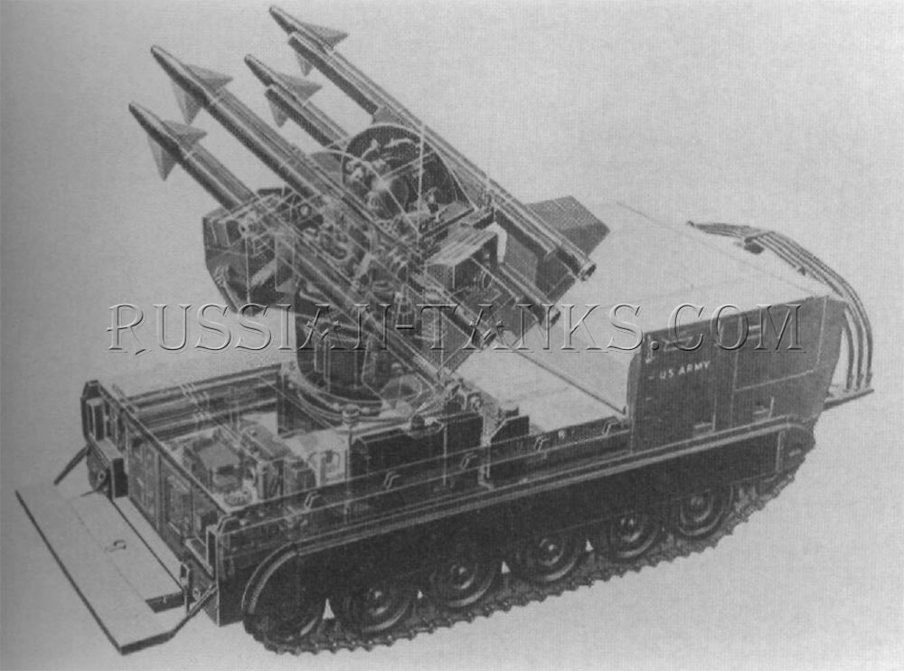 The MTM-72 Chaparral missile system is installed on the modified XM548E1 carrier which was later designated as the M750