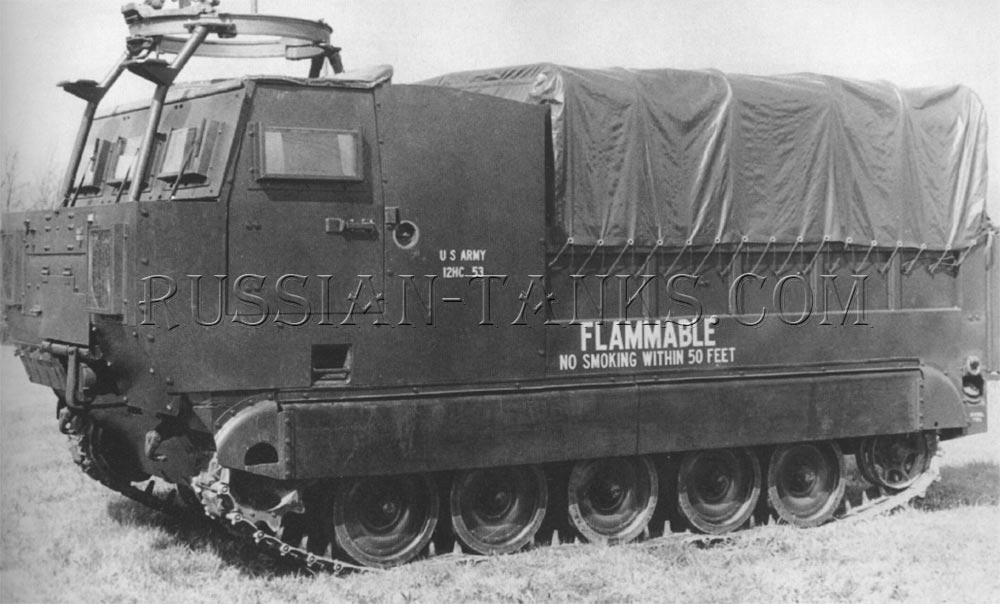 The flame thrower service vehicle XM45E1 based upon the cargo carrier M548
