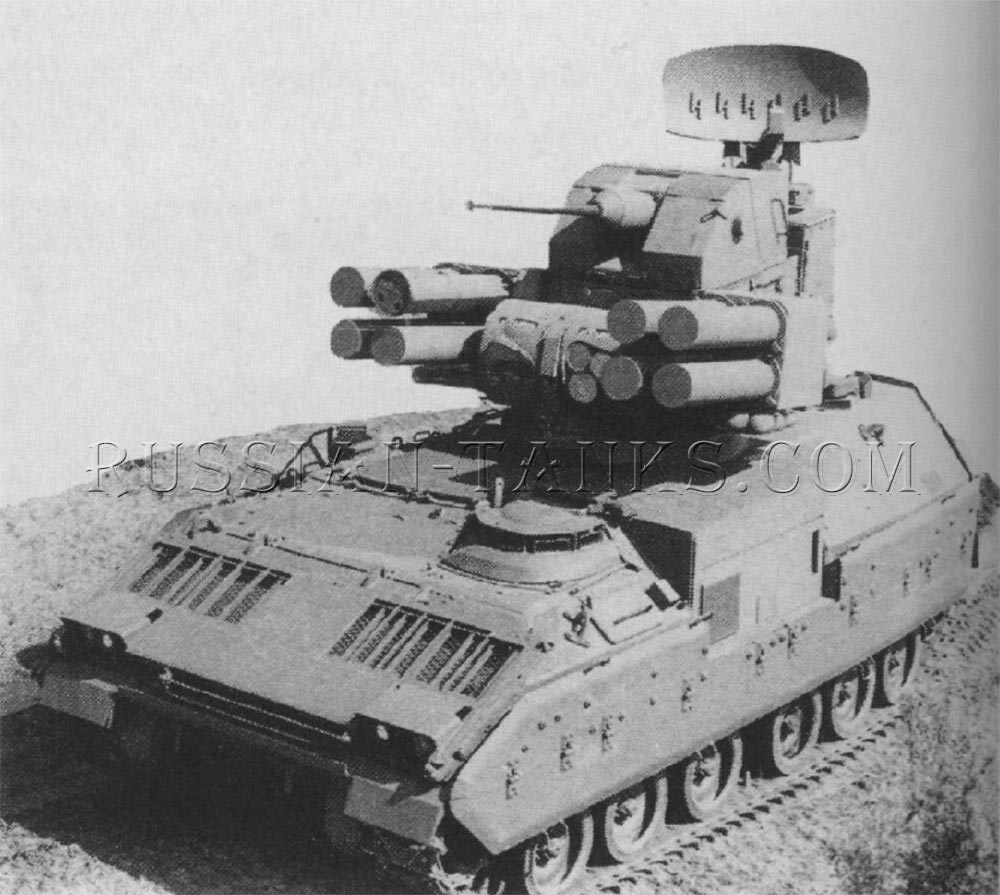 The air defense antitank system is installed on the Bradley chassis