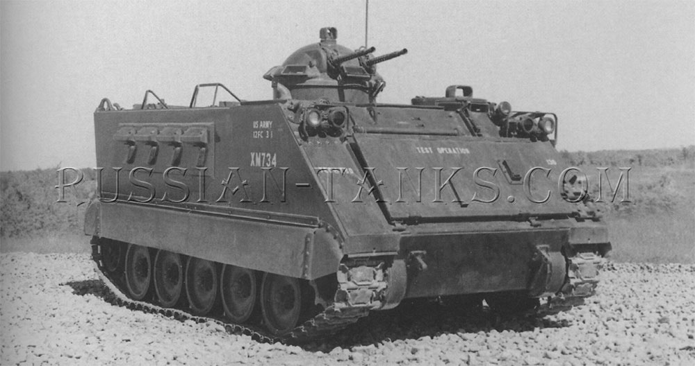 The armored personnel carrier XM734 fitted with the Model 74 cupola armed with two 7.62mm machine guns