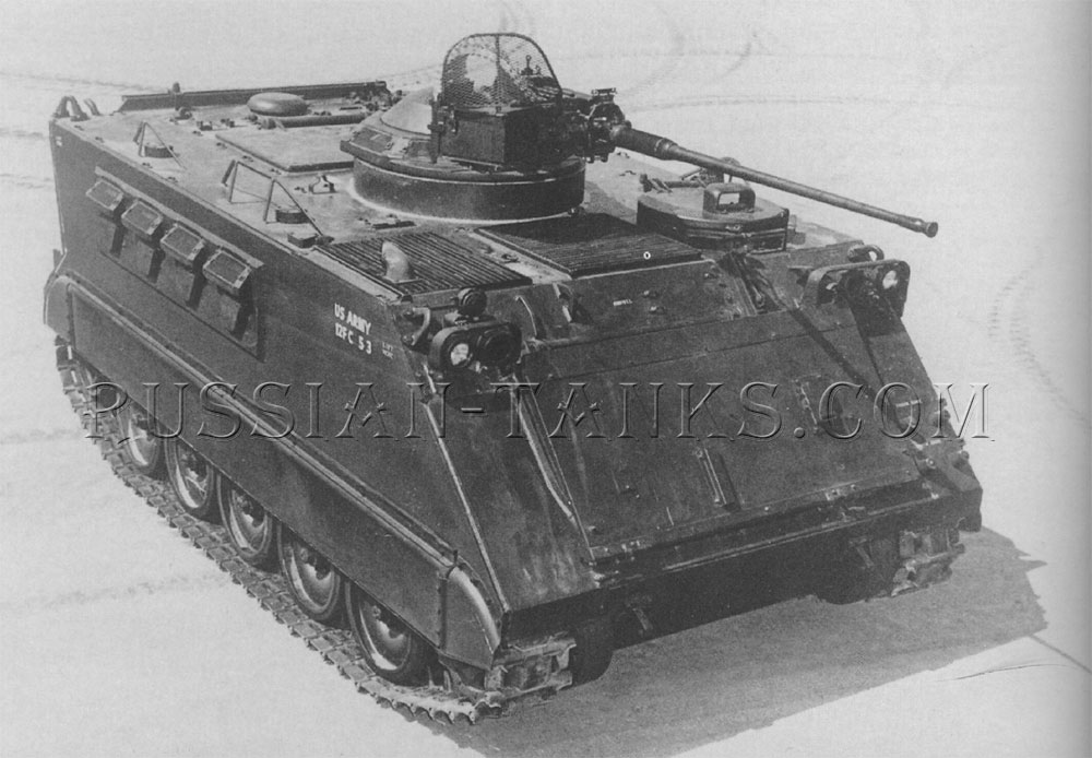The armored personnel carrier XM734 with a 20mm gun in the cupola mount