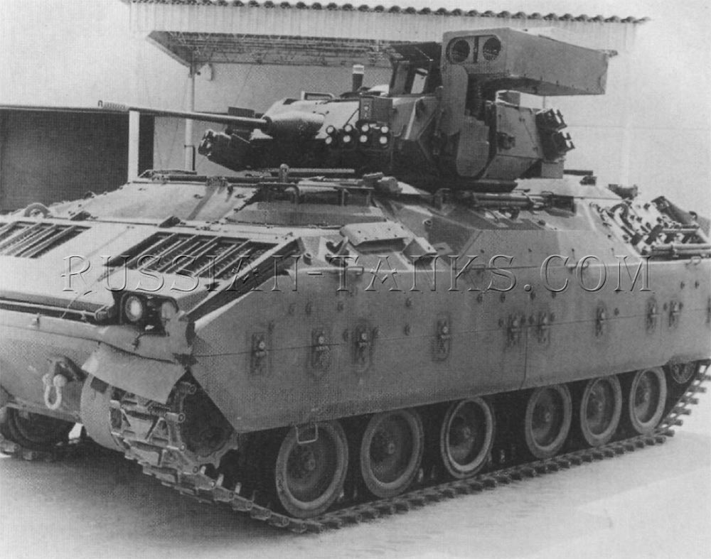 The M3A1 cavalry fighting vehicle with the hatches closed and the launcher erected in the firing position