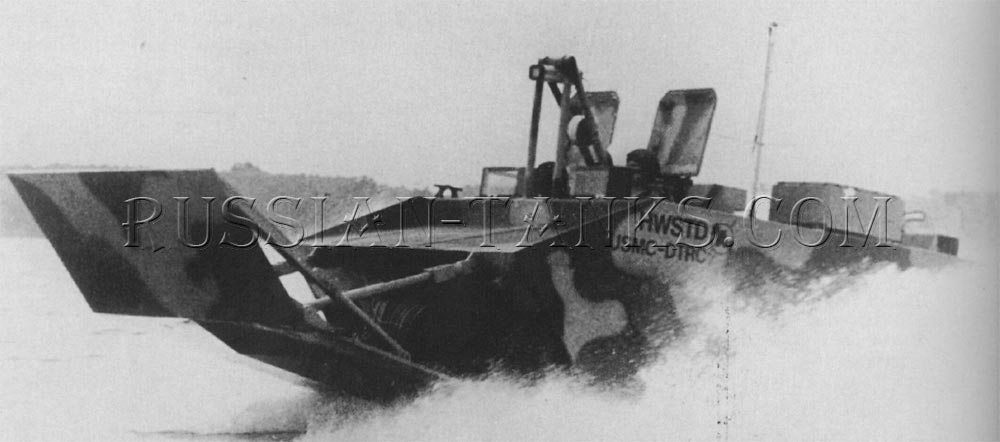 The LVT assault personnel carrier, it is operating at high speed in the water
